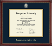 Georgetown University Diploma Frame - Brass Masterpiece Medallion Diploma Frame in Kensington Gold