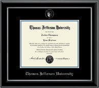 Thomas Jefferson University Diploma Frame - Silver Embossed Seal Diploma Frame in Onyx Silver