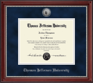 Thomas Jefferson University Diploma Frame - Silver Engraved Seal Medallion Diploma Frame in Kensington Silver
