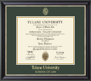Tulane University Diploma Frame - Gold Embossed Diploma Frame in Noir