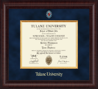 Tulane University Diploma Frame - Masters/PhD - Presidential Masterpiece Diploma Frame in Premier