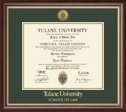 Tulane University Diploma Frame - Gold Engraved Medallion Diploma Frame in Hampshire