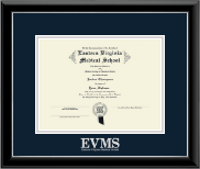 Eastern Virginia Medical School Diploma Frame - Silver Embossed Diploma Frame in Onyx Silver