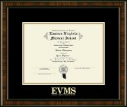 Eastern Virginia Medical School Diploma Frame - Gold Embossed Diploma Frame in Brentwood