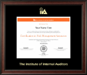 The Institute of Internal Auditors Certificate Frame - Gold Embossed Certificate Frame in Studio