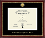 Eastern Virginia Medical School Diploma Frame - Gold Engraved Medallion Diploma Frame in Kensington Gold