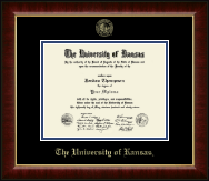 The University of Kansas Diploma Frame - Gold Embossed Diploma Frame in Murano