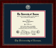 The University of Kansas Diploma Frame - Brass Masterpiece Medallion Diploma Frame in Sutton