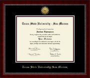 Texas State University San Marcos Diploma Frame - Gold Engraved Medallion Diploma Frame in Sutton