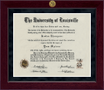 University of Louisville Diploma Frame - Millennium Gold Engraved Diploma Frame in Cordova