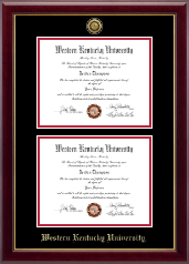 Western Kentucky University Diploma Frame - Gold Engraved Double Diploma Frame in Gallery