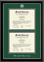 Marshall University Diploma Frame - Double Document Diploma Frame in Onyx Silver