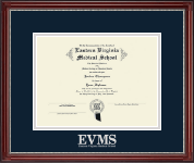 Eastern Virginia Medical School Diploma Frame - Silver Embossed Diploma Frame in Kensington Silver
