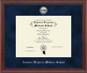 Eastern Virginia Medical School Diploma Frame - Silver Engraved Medallion Diploma Frame in Signature