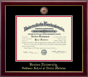 Boston University Diploma Frame - Masterpiece Medallion Diploma Frame in Gallery