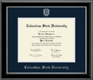 Columbus State University Diploma Frame - Silver Embossed Diploma Frame in Onyx Silver