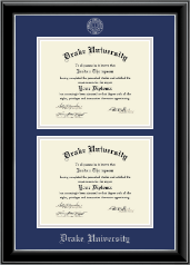 Drake University Diploma Frame - Double Document Diploma Frame in Onyx Silver