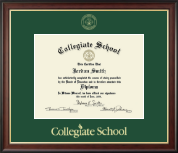 Collegiate School  Diploma Frame - Gold Embossed Diploma Frame in Studio Gold