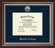 Smith College Diploma Frame - Silver Engraved Medallion Diploma Frame in Devonshire