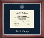 Smith College Diploma Frame - Silver Embossed Diploma Frame in Kensington Silver