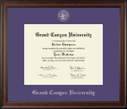 Grand Canyon University Diploma Frame - Silver Embossed Diploma Frame in Studio