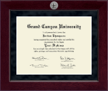 Grand Canyon University Diploma Frame - Millennium Silver Engraved Diploma Frame in Cordova