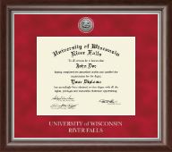University of Wisconsin River Falls Diploma Frame - Silver Engraved Medallion Diploma Frame in Devonshire