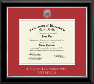 University of Wisconsin River Falls Diploma Frame - Silver Engraved Medallion Diploma Frame in Onyx Silver