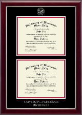 University of Wisconsin River Falls Diploma Frame - Double Document Diploma Frame in Gallery Silver