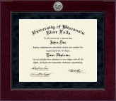 University of Wisconsin River Falls Diploma Frame - Millennium Silver Engraved Diploma Frame in Cordova