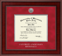 University of Wisconsin River Falls Diploma Frame - Presidential Silver Engraved Diploma Frame in Jefferson