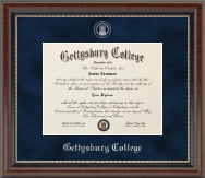 Gettysburg College Diploma Frame - Silver Embossed Diploma Frame in Chateau