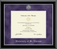 University of St. Thomas Diploma Frame - Silver Engraved Medallion Diploma Frame in Onyx Silver