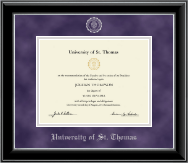 University of St. Thomas Diploma Frame - Silver Embossed Diploma Frame in Onyx Silver