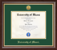 University of Miami Diploma Frame - Gold Engraved Medallion Diploma Frame in Hampshire