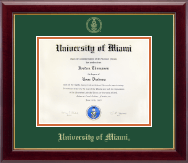 University of Miami Diploma Frame - Gold Embossed Diploma Frame in Gallery
