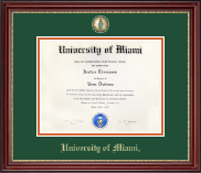 University of Miami Diploma Frame - Masterpiece Medallion Diploma Frame in Kensington Gold