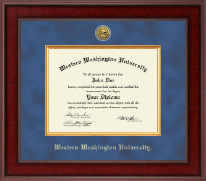 Western Washington University Diploma Frame - Presidential Gold Engraved Diploma Frame in Jefferson
