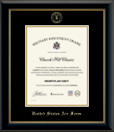 United States Air Force Certificate Frame - Gold Embossed Certificate Frame in Onyx Gold