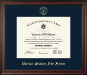 United States Air Force Certificate Frame - Gold Embossed Certificate Frame in Studio