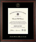 United States Marine Corps Certificate Frame - Gold Embossed Certificate Frame in Studio