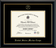 United States Marine Corps Certificate Frame - Gold Embossed Certificate Frame in Onyx Gold