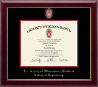 University of Wisconsin Madison Diploma Frame - Spirit Shield Medallion Diploma Frame in Gallery