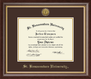 St. Bonaventure University Diploma Frame - Gold Engraved Medallion Diploma Frame in Hampshire