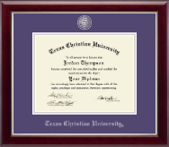 Texas Christian University Diploma Frame - Pewter Masterpiece Medallion Diploma Frame in Gallery Silver