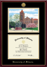 University of Illinois Diploma Frame - Gold Engraved Campus Scene Lithograph Diploma Frame in Galleria