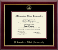 Midwestern State University Diploma Frame - Gold Embossed Diploma Frame in Gallery