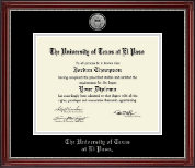 University of Texas at El Paso Diploma Frame - Silver Engraved Medallion Diploma Frame in Kensington Silver