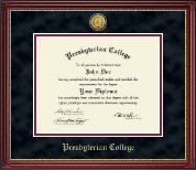 Presbyterian College Diploma Frame - Gold Engraved Medallion Diploma Frame in Kensington Gold
