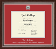 York College in New York Diploma Frame - Silver Engraved Medallion Diploma Frame in Devonshire